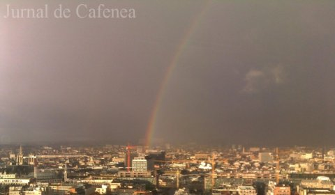 Rainbow over the city of Brussels