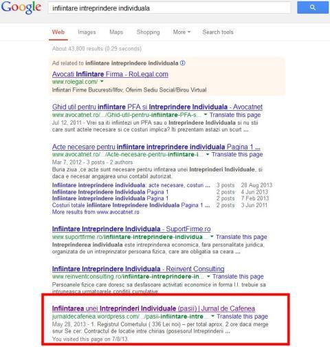 Rezultat cautare Google | IInfiintare intreprindere individuala