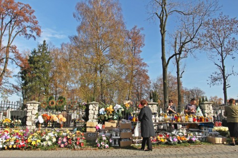 Day of the Dead flower selling by the cemetary. Poland