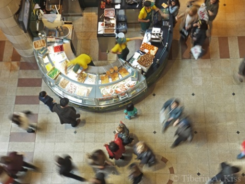 Crowds in City 2 Shopping Centre photographed from high up