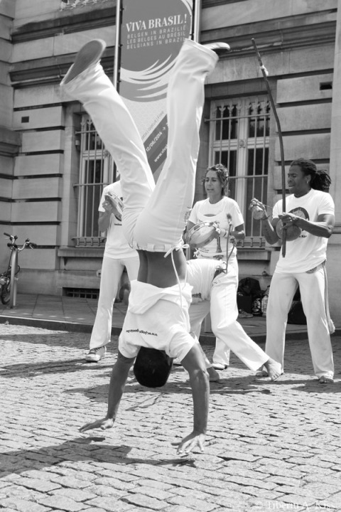 Capoeira man jumps standing upside down on his hands. (IMG_6276)
