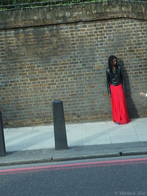 Black girl in red dress
